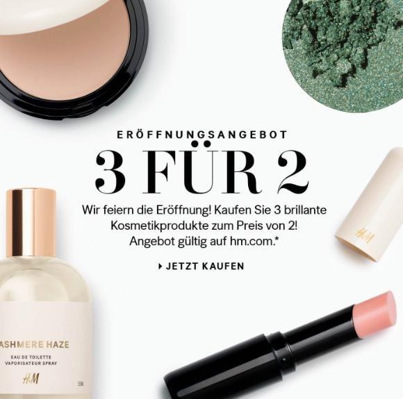 [H&M] 3 für 2 auf ausgewählte Kosmetikprodukte, VSK: 4,90€
