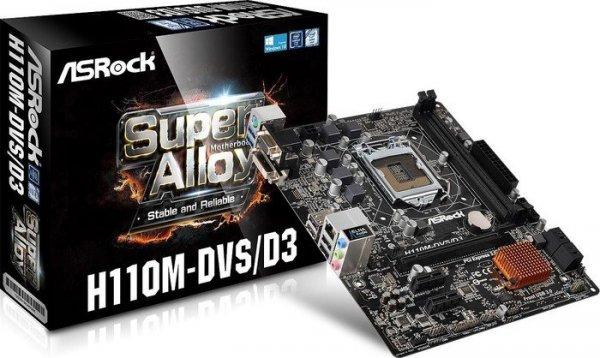 Skylake Sockel 1151 Mainboard - ASRock H110M-DVS/D3 (Retail) für 66,96 @ metacomp