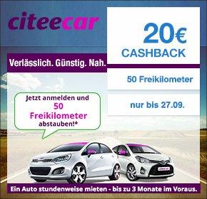 [Qipu] CiteeCar: 20€ Cashback für deine Registrierung + 50 Frei-Kilometer (Gegenwert 11,00-13,50 €)