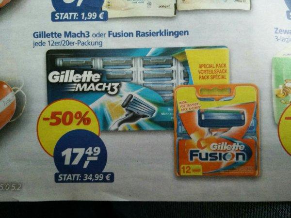 (lokal-Gießen?) 20 St Gilette Mach3 oder 12 Fusion Rasierklingen bei real für 17.49