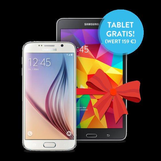 BASE All-In: Telefon, SMS und Internet 2GB LTE / SAMSUNG GALAXY S6 Alle Farben +  GALAXY Tab 4 7.0 Wifi gratis! / Für 40€ Monatlich (ADAC Mitglieder 37,50€)