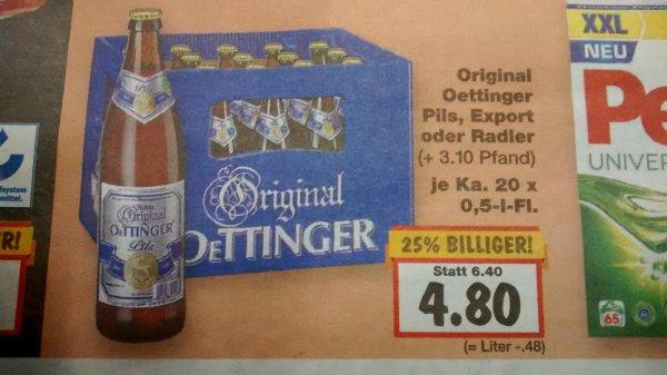 [Nachschub] Oettinger 20 x 0,5L Pils/Export/Radler für 4,80€ [Kaufland]