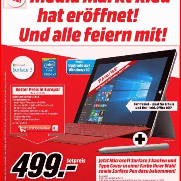 [mediamarkt.at] Surface 3 64 GB + Type Cover + Pen für 510,99€ und viele weitere Angebote!