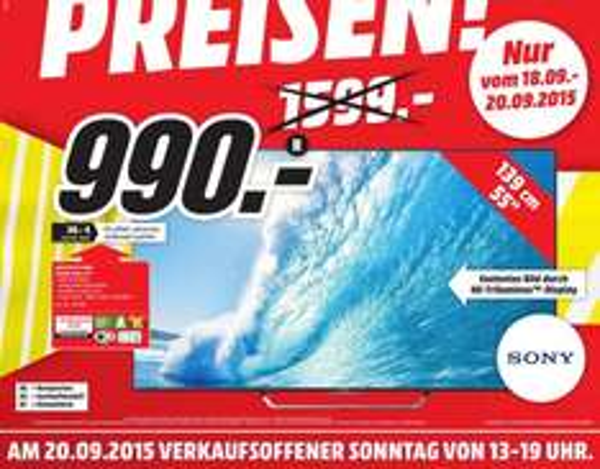 [Lokal Mediamarkt Frankfurt Borsigallee]  Sony KD-55X8505C | 139cm Bilddiagonale |4K UHD |Android |800 Hz Motionflow | Energie-EffizienzklasseA [Energie-Effizienzklasse A] für 990,-€ vom 18.09-20.09