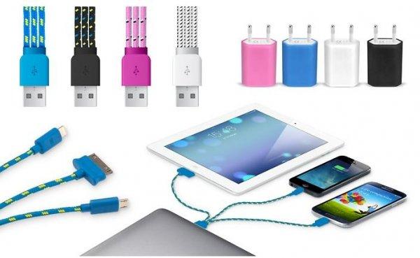 3-in-1 Ladekabel mit Mikro-USB, 30-Pin und Lightning auf USB (bis zu 89% sparen*)