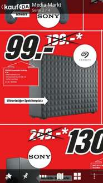 [lokal? MM Ulm + MM Neu-Ulm] Seagate Expansion Desktop 4tb für 99€  (ab Morgen, 17.9.)(+ weitere Angebote, z.B. Samsung UE48JU6485 für 680€)
