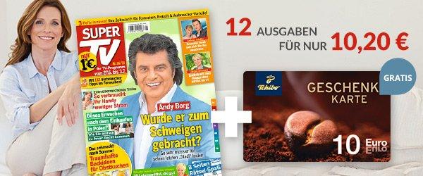 Abosgratis : 12x SuperTV plus 10 € Gutschein von Tchibo ( 10,20 € - 10 € )  = 0,20 €