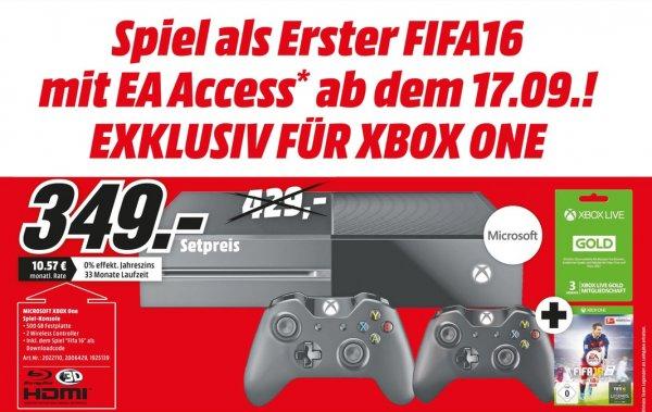 Xbox One + 2. Xbox Controller + FIFA 16 DLC + 3 Monate Xbox Live Gold für 349 € I Mediamarkt Gütersloh