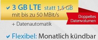DeutschlandSIM LTE 1500 Special (3000 MB statt 1500 MB im o2 Netz bis zu 50 Mbit/s LTE), Allnet Flat/SMS Flat und EU 100 Paket, nur 19,99 € mtl. kündbar!