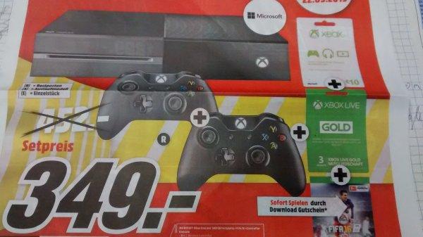 [MM] Xbox One 500GB + Fifa 16 + 2 Controller, 3 Monate Xbox Live Gold und  Guthaben