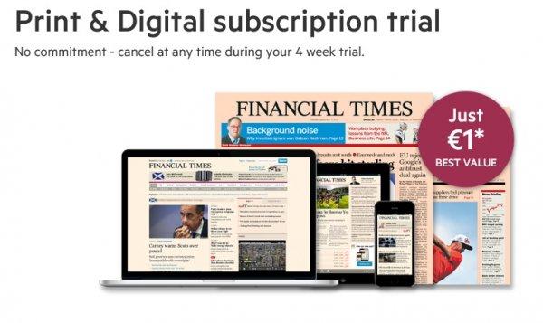 1€ Financial Times Abo Print und Digital 4 Wochen