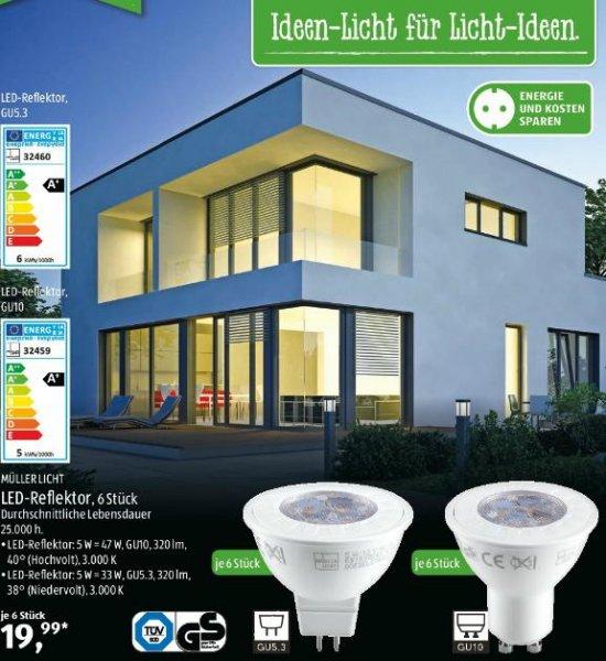 [Aldi-Süd] Müller-Licht 6er Pack GU10 oder GU5.3 LED - Reflektor für 19,99€ ab 26.09.2015