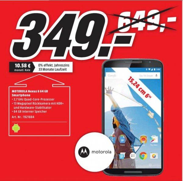 [Lokal Mediamärkte Erfurt]  Google Nexus 6-Mitternachtsblau-4G LTE-64 GB-Android Smartphone für 349,-€