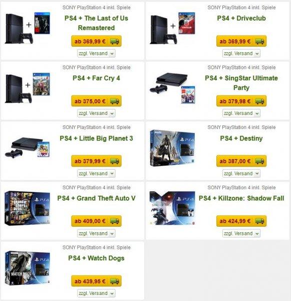 Playstation 4 Bundle mit Spiel nach Wahl