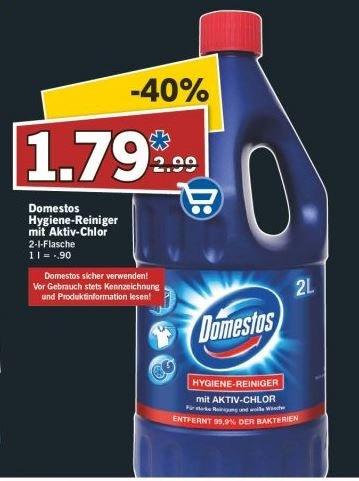 [LIDL] Domestos Hygiene-Reiniger 2 Liter für 1,79 Euro. (-40%)  Auch fürs Gästeklo geeignet.