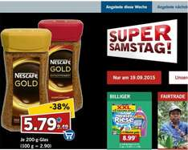 Lidl Nescafe 5,79 Euro (2 x Nescafé Gold 200 g für effektiv 1,58 Euro)