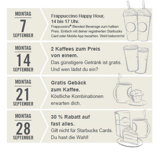 Montag 21.09 gratis Gebäck zum Getränk bei Starbucks