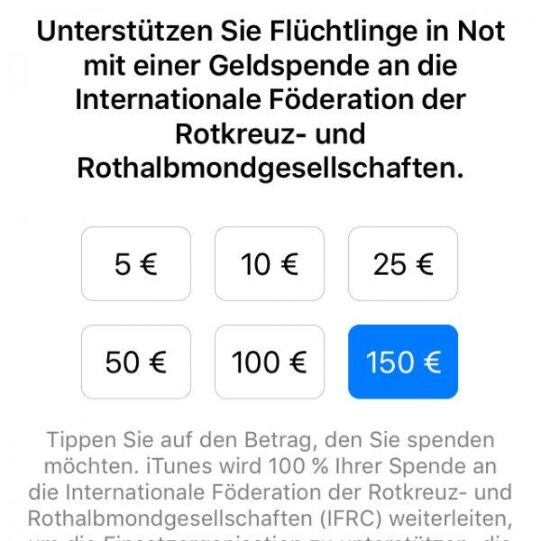 Für Flüchtlingen spenden mit Apple-Zuschuss