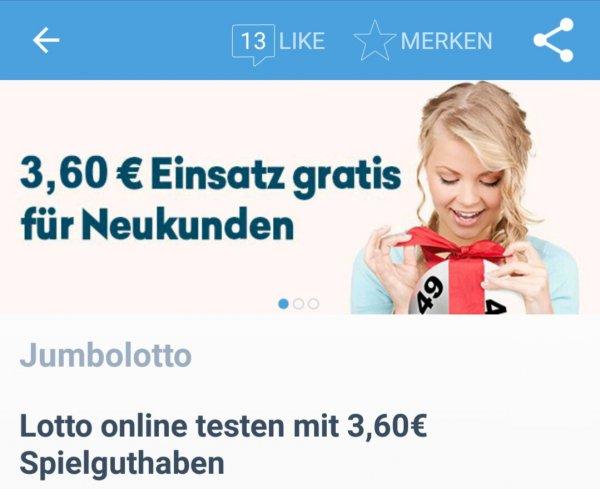 [Coupies]3 Felder(3,60€) kostenlos spielen bei Jumbolotto.de (Neukunden)