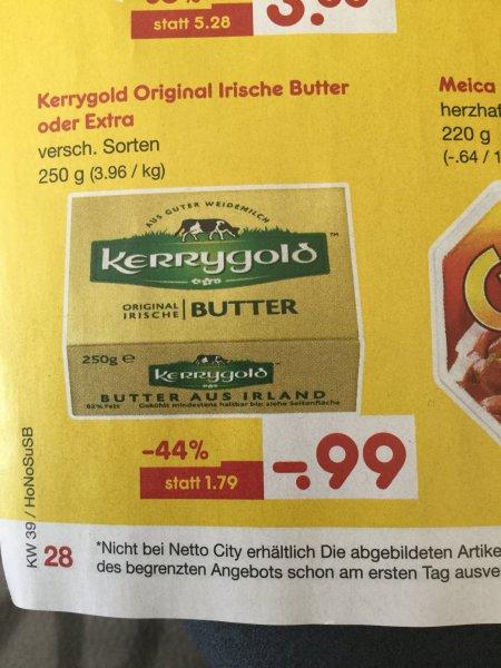 [Netto MD Samstagskracher 26.9] Kerrygold Butter 250g für 99 Cent