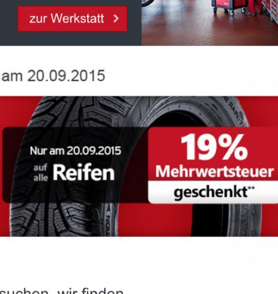 19% Rabatt auf Autoreifen und Kompletträder nur am 20.09.2015