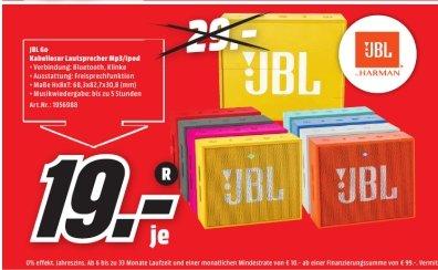 [Lokal Mediamarkt Neutraubling und Regensburg] JBL GO portabler Bluetooth Lautsprecher mit Freisprechfunktion. Alle Farben für je 19,-€