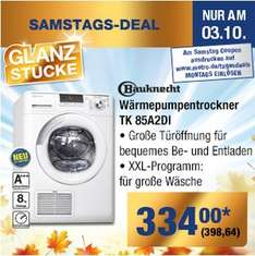 Bauknecht Wärmepumpentrockner ecostar 8 (85A2DI) A+++ am 3.10.15 bei METRO 398,64 (Kundenkarte erforderlich!)