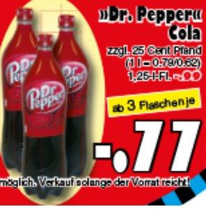 [JAWOLL] Dr. Pepper 1,25l PET am Samstag 26.09. ab 3 Flaschen für nur 0,77€ (=0,61€/Liter)