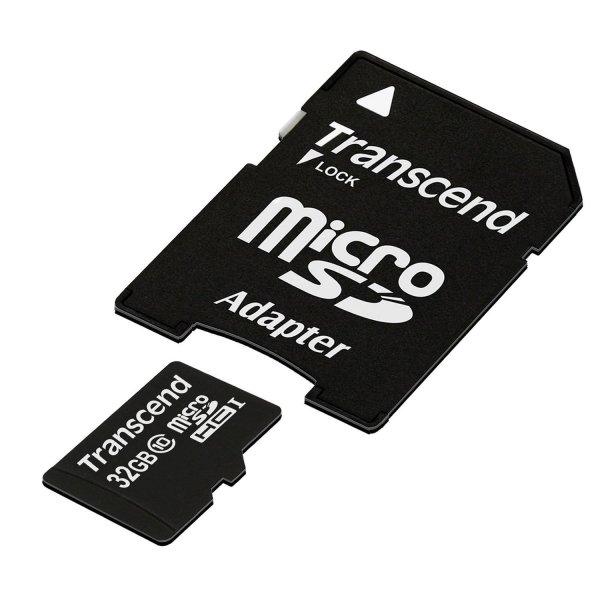 (Amazon.de-Prime) Transcend Class 10 microSDHC 32GB Speicherkarte mit SD-Adapter+Aufbewahrungsbox in Amazon Frustfreie Verpackung für 10€
