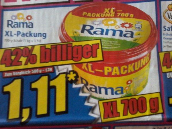 Rama XL 700g   für 1,11€     (42% billiger )  und andere Angebote     bei NORMA