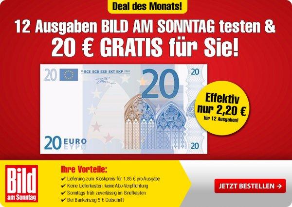 12 Ausgaben Bild am Sonntag BamS für effektiv 2,20 Euro durch 20 Euro Barscheck - zusätzlich 5 Euro Gutschrift bei Bankeinzug. Angebot gilt bis 10.10.2015