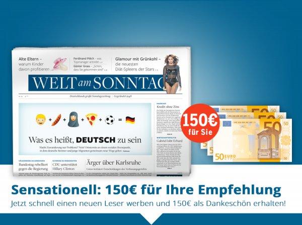 Welt am Sonntag wieder mit 150€ Bargeldprämie bei 202,80 Euro Abokosten