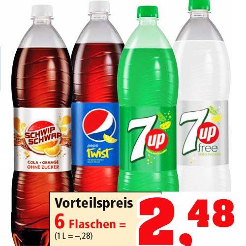 6er-Pack Schwip Schwap, Pepsi Twist oder 7Up 1,5l für 2,48€ damit nur 41 Cent pro Flasche [Thomas Philipps]