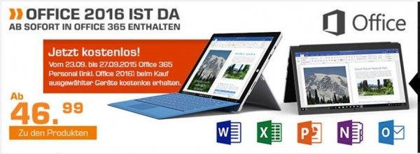 Office 365 Personal Abo kostenlos beim Kauf eines ausgewählten Geräts bei Saturn dabei!