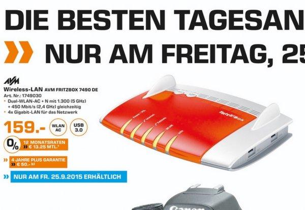 (Lokal Duisburg) AVM Fritzbox 7490 DE Router für 159€ @ Saturn TAGESANGEBOT 25.9.15!