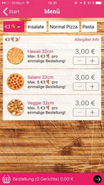 (Lokal, iOS) 3€ Pizzen (Hawaii, Salami, Veggie) in 32cm für 3€ inkl Lieferung @ Hungr