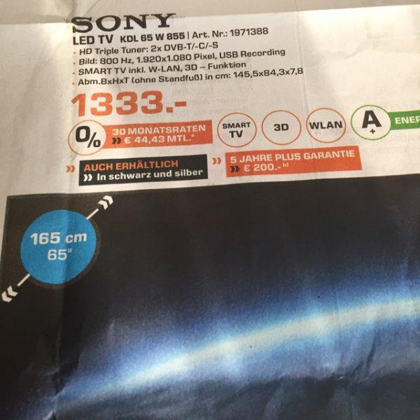 [Dortmund Mitte/Eving und Lünen] Sony KDL65W855