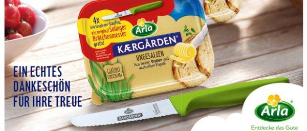4x Arla Kærgården Aktionspackung kaufen und Brötchenmesser mit Solinger Klinge bekommen