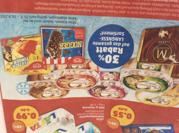 Penny 30%  Rabatt auf Eis (von Langnese)