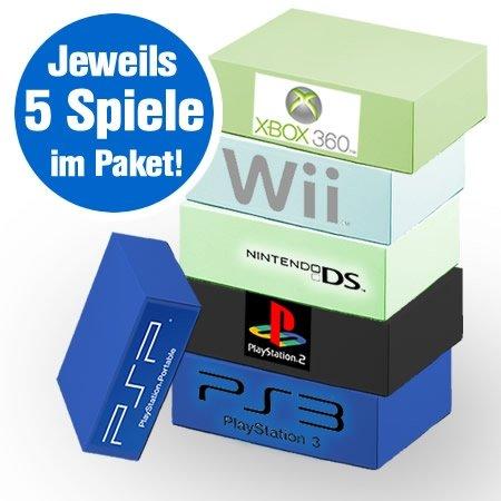 Spielebox verschiedene Konsolen - 5 Spiele nach Alter sortiert