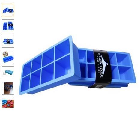 40% Rabatt auf die Diamond Cool Eiswürfelform Silikon – 2er Pack Eiswürfelbereiter für XXL Eiswürfel - Silikon Backform Eckig