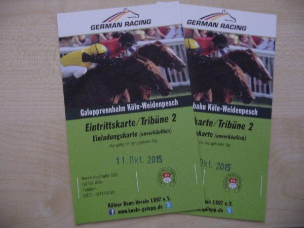 Zwei Eintrittskarten Köln Galopprennbahn für Newsletteranmeldung Wert 14€