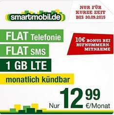 "[Amazon.de] Smartmobil.de - Tarif ""LTE Hammer"" - 1GB LTE 50Mbit/s - SMS & Allnet Flat - Datenautomatik deaktivierbar - AG 4,95€ - 12,99€ / Monat - 10€ Bonus bei Rufnummermitnahme Monatlich kündbar"