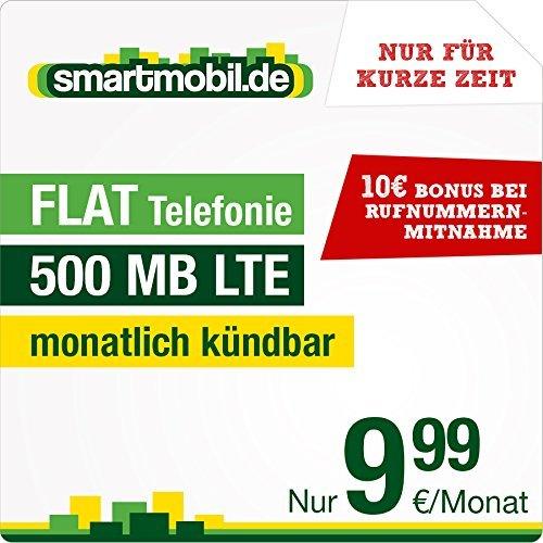 Smartmobil Allnet-Flat und 500 MB LTE (bis zu 21,1 Mbit/s im o2 Netz) für nur 9,99 € mtl. kündbar! + Datenautomatik (kündbar)