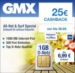 [Qipu] 1&1 Tarife via gmx.de z.B. 300 Freieinheiten + 1 GB | für 6,99€ monatlich, 400 Freieinheiten + 3 GB für 12,99€ monatlich +25€ Cashback [+30€ Startbonus für TopMail Kunden]