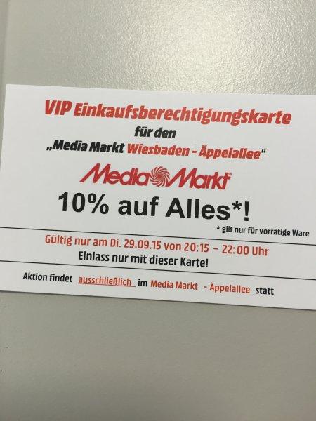 Mediamarkt Wiesbaden Äppelallee - 10% auf alles beim VIP Shopping - 29.09.15 - 20:15 Uhr bis 22:00 Uhr