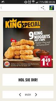 9 King Nuggets + 3 kl. Burger + kl. Pommes