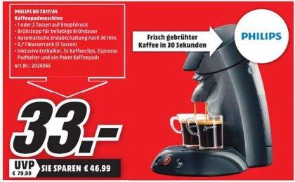 [Lokal Mediamarkt Ingolstadt] Senseo Philips Original HD7817/69 Kaffeepadmaschine Schwarz für 33,-€