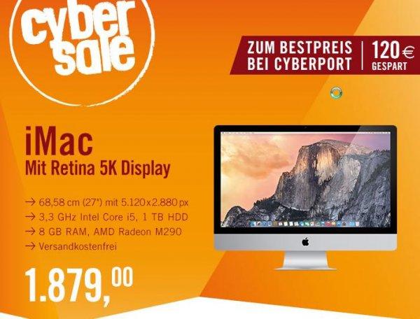 """(Cyber-Sale) Apple iMac 27"""" Retina 5K (3,3 GHz Intel Core i5 8GB 1TB SATA M290 (MF885D/A) > Minus 120€"""