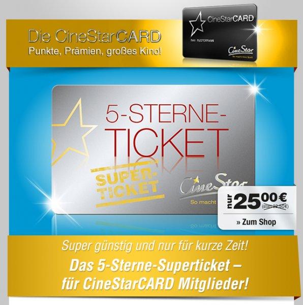 Cinestar 5-Sterne Ticket für 25€ inkl. Versand vom 25.09 bis 27.09.